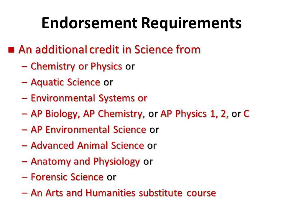 Endorsement Requirements