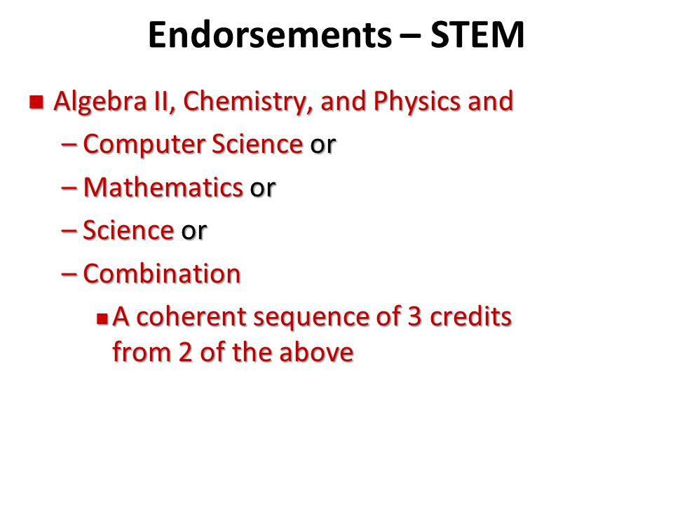 Endorsements – STEM Algebra II, Chemistry, and Physics and