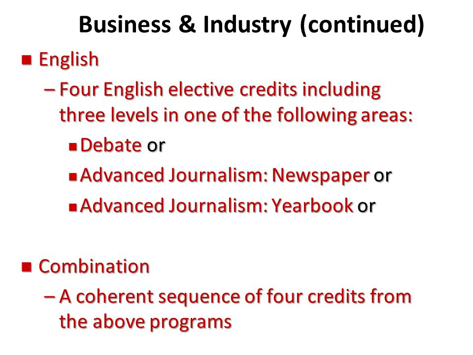 Business & Industry (continued)