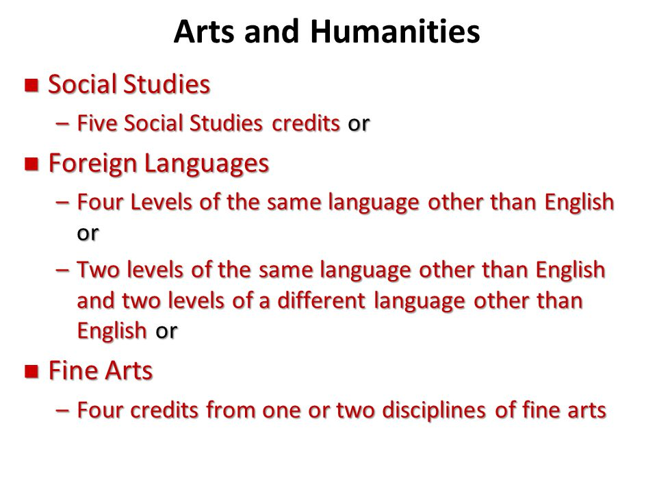 Arts and Humanities Social Studies Foreign Languages Fine Arts