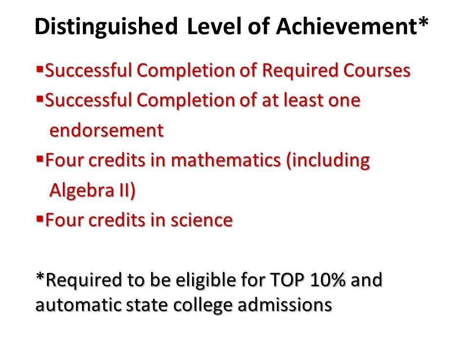 Distinguished Level of Achievement*