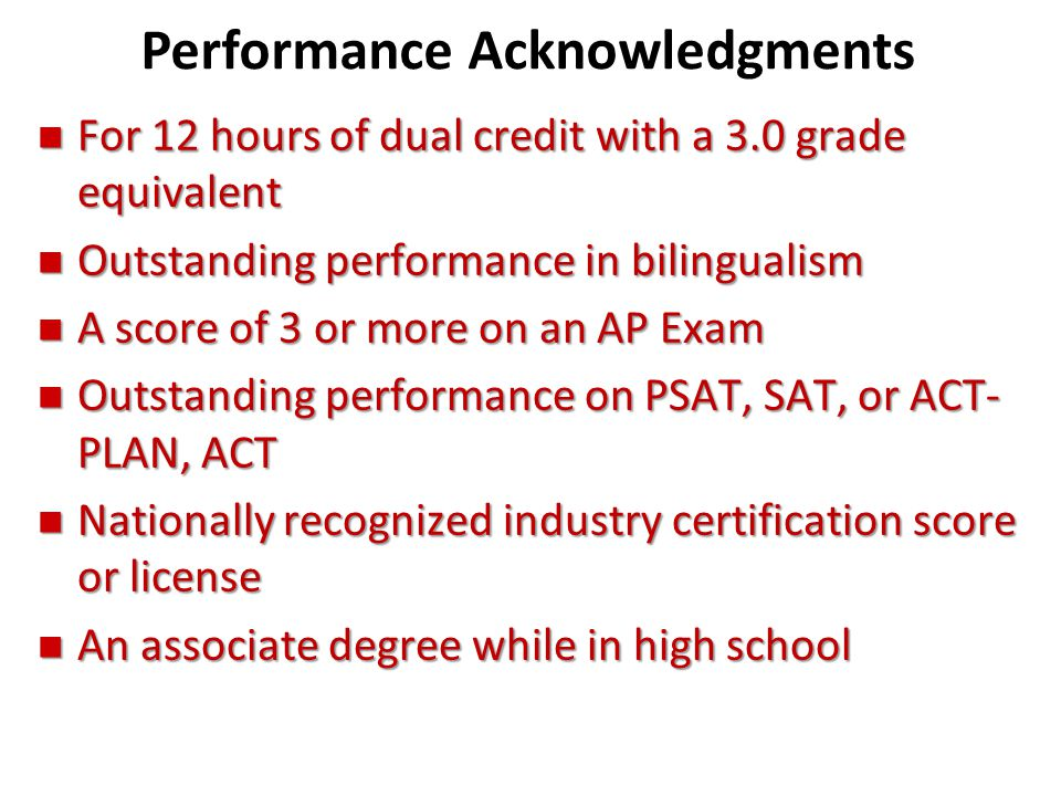 Performance Acknowledgments
