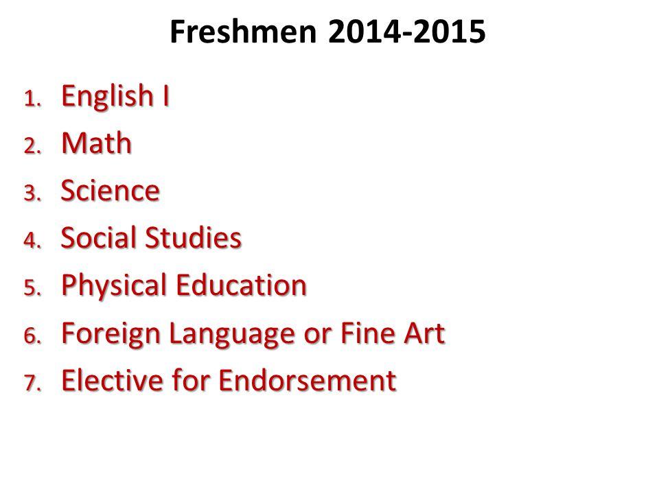 Freshmen 2014-2015 English I Math Science Social Studies