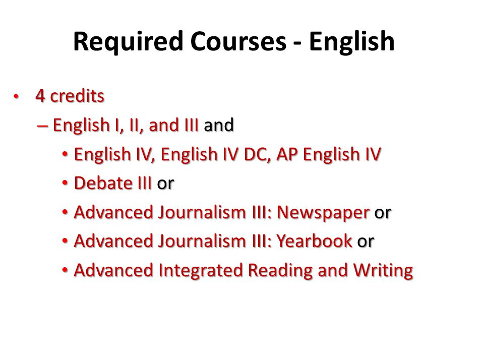 Required Courses - English