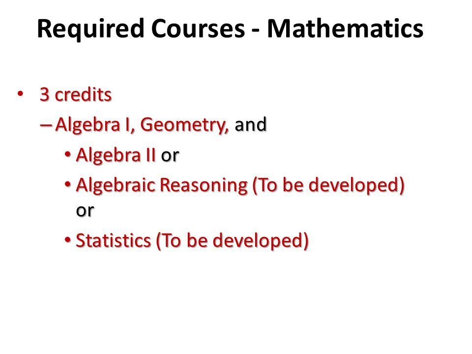 Required Courses - Mathematics