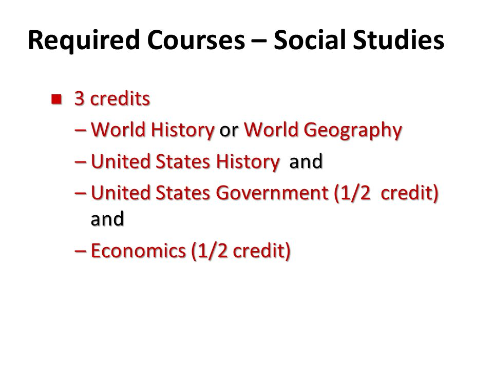 Required Courses – Social Studies