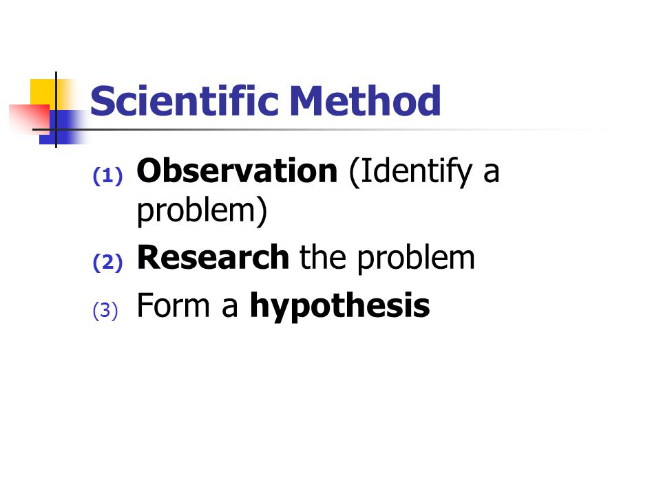 Scientific Method Observation (Identify a problem)