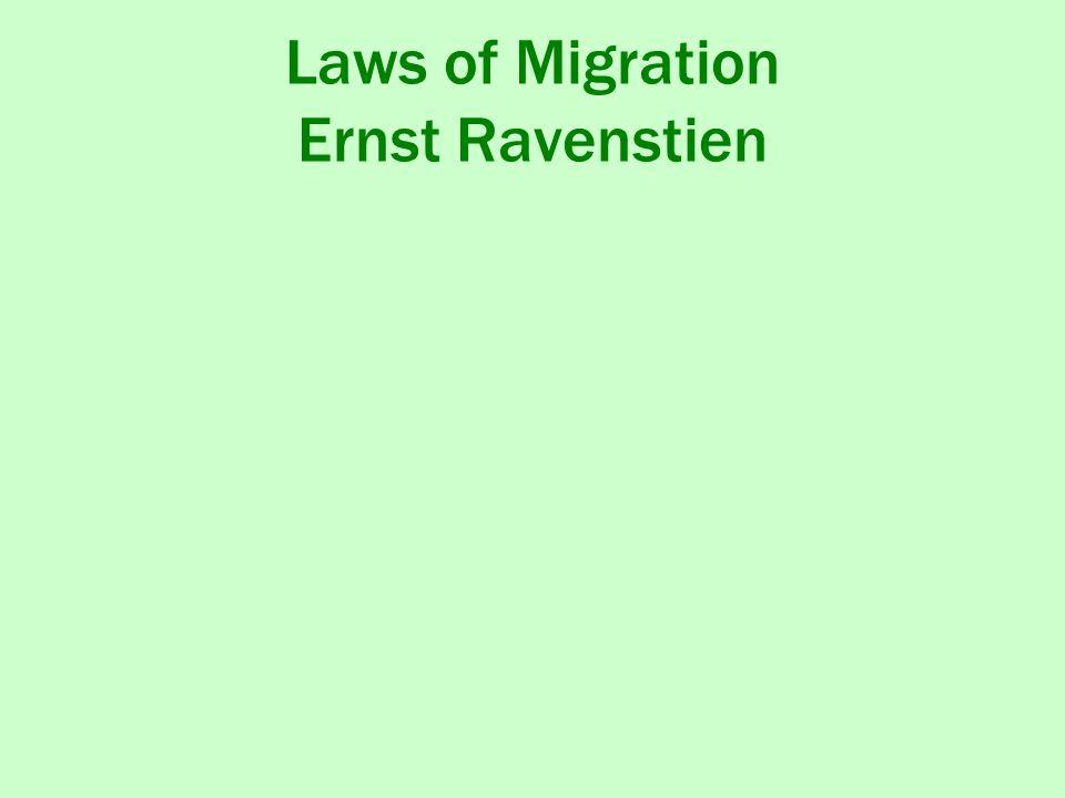 Laws of Migration Ernst Ravenstien