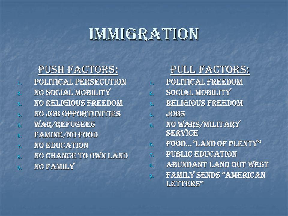 Immigration Push Factors: Pull Factors: Political Persecution