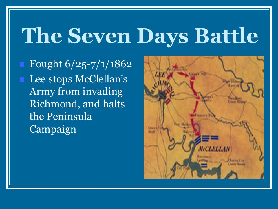 The Seven Days Battle Fought 6/25-7/1/1862