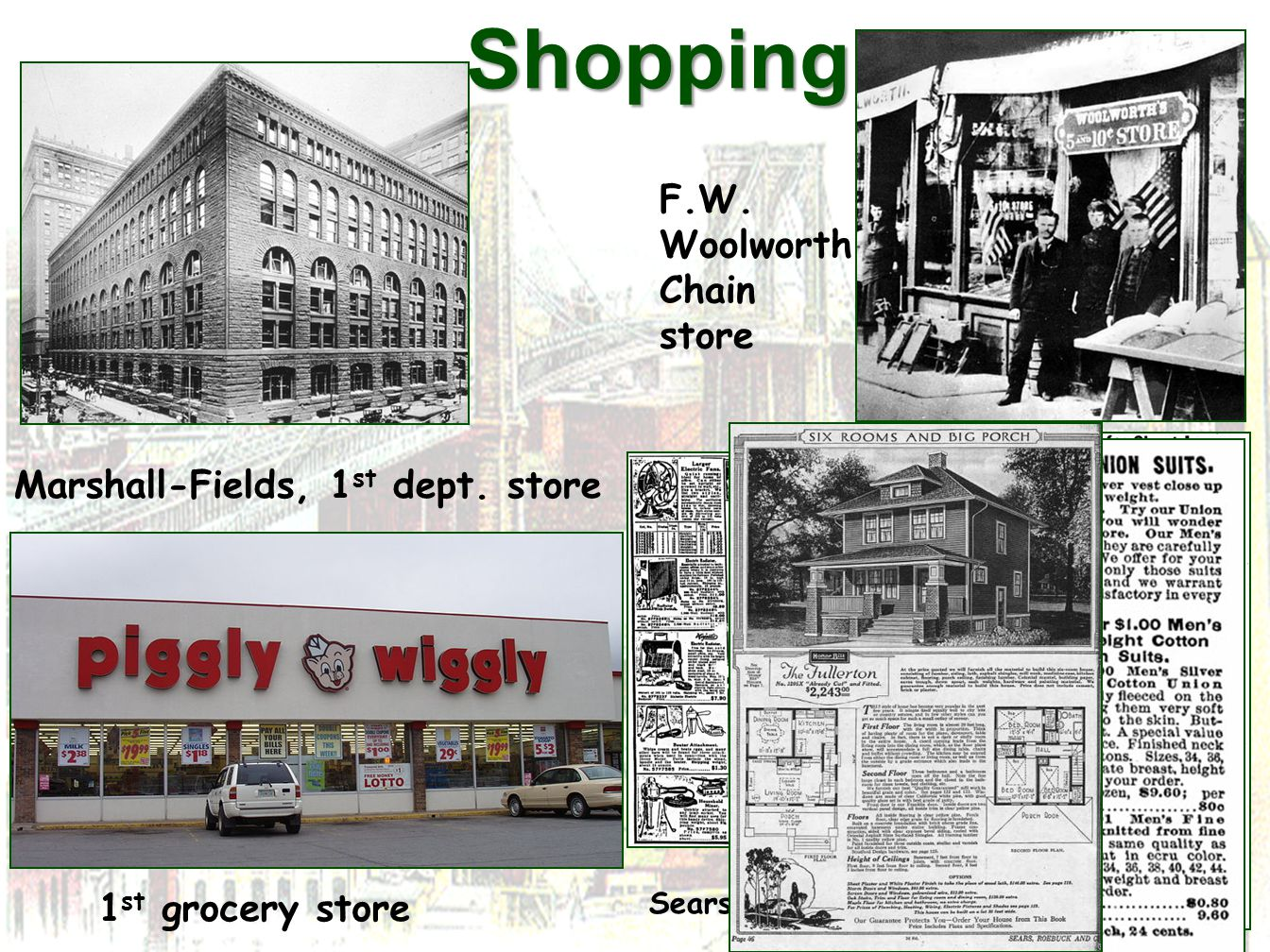 Shopping F.W. Woolworth Chain store Marshall-Fields, 1st dept. store