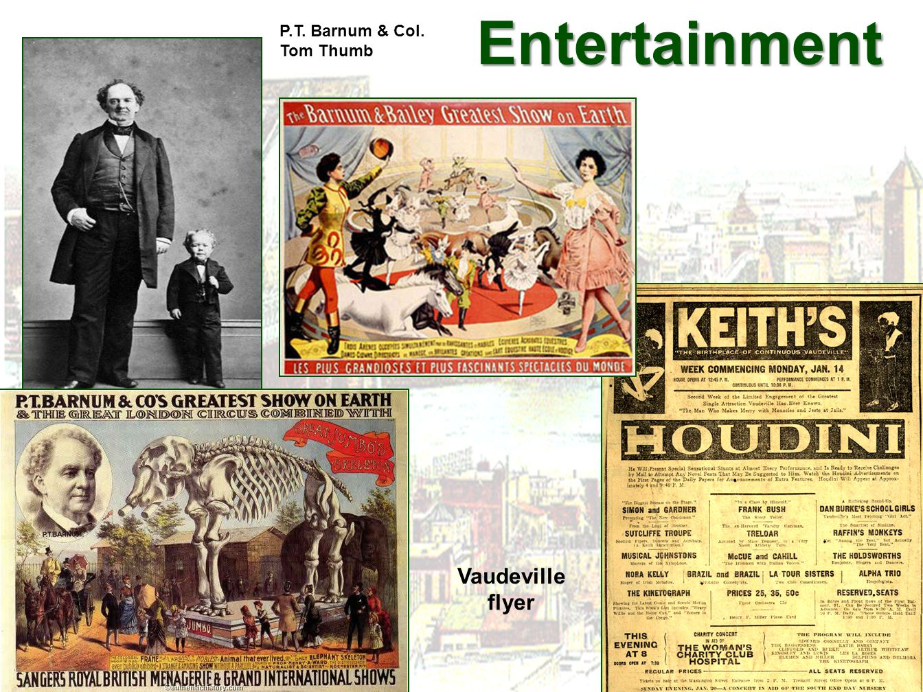 Entertainment P.T. Barnum & Col. Tom Thumb Vaudeville flyer