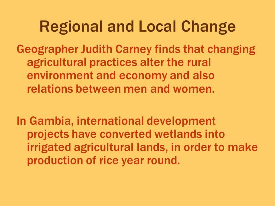 Regional and Local Change