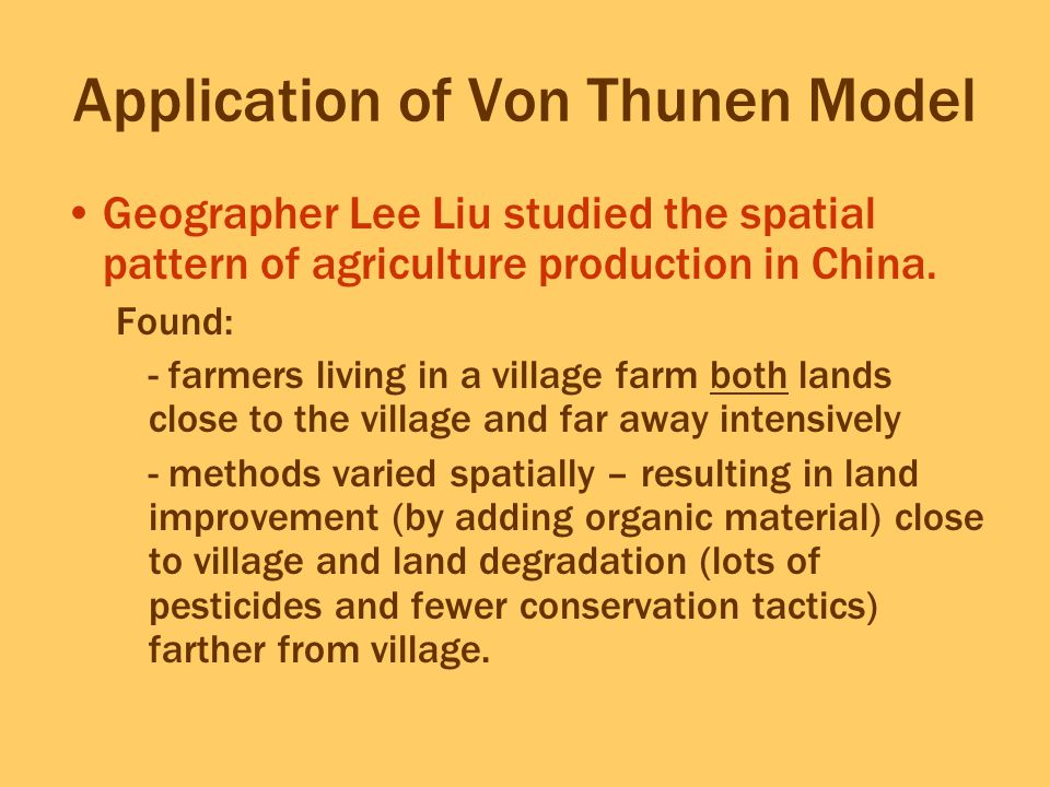 Application of Von Thunen Model