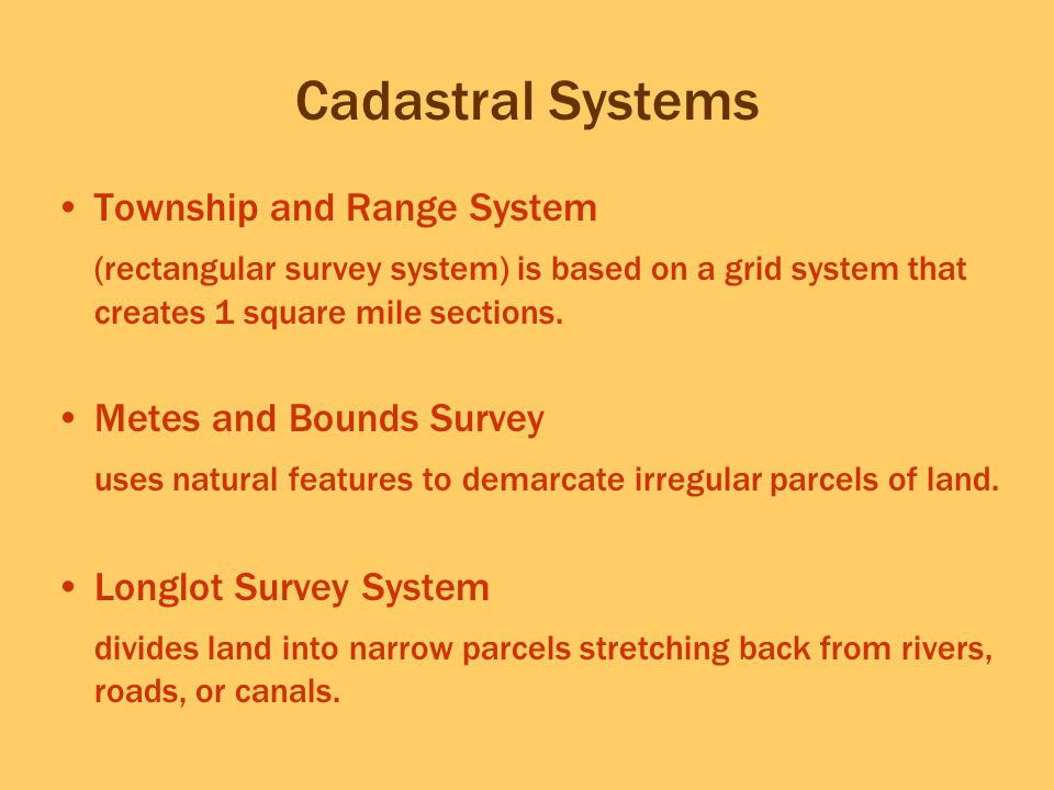 Cadastral Systems Township and Range System