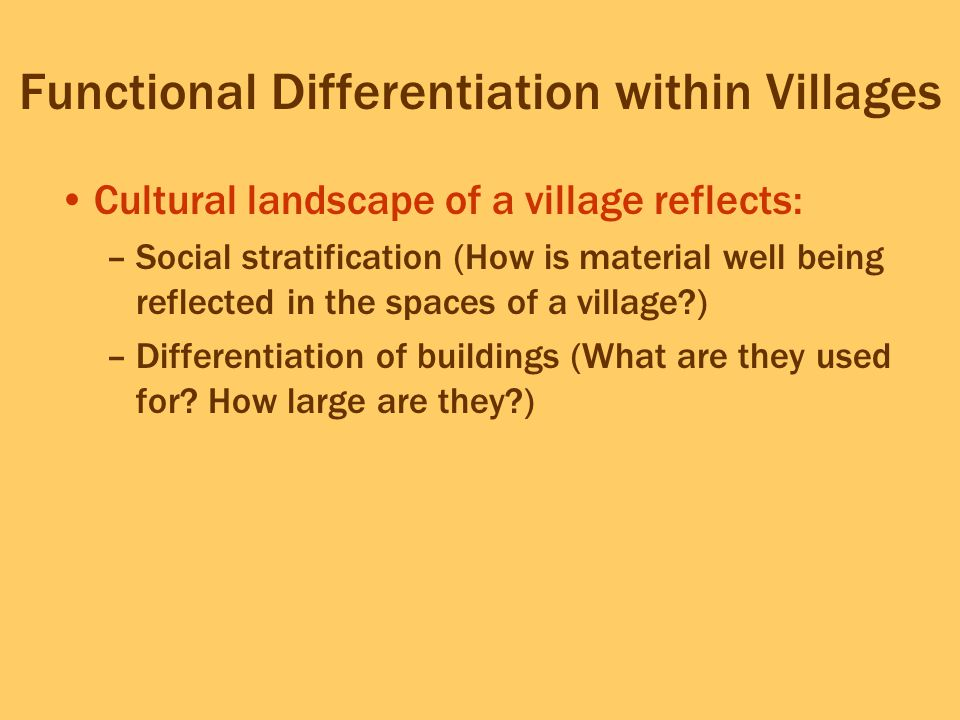 Functional Differentiation within Villages