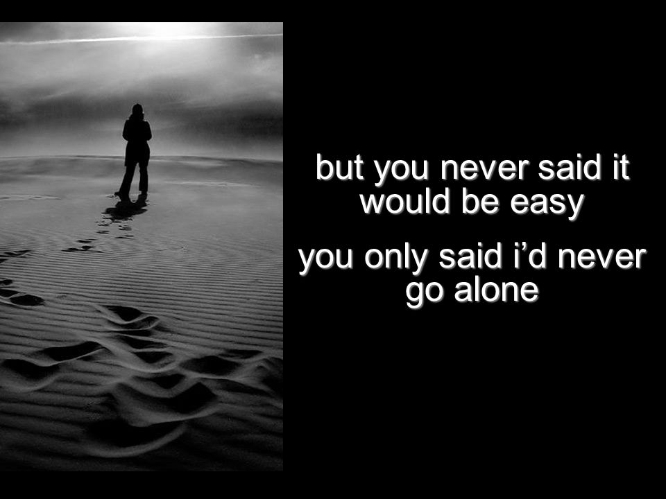 but you never said it would be easy you only said i'd never go alone