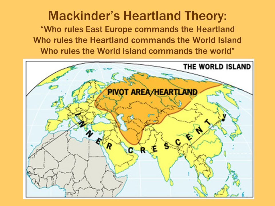 Mackinder's Heartland Theory: Who rules East Europe commands the Heartland Who rules the Heartland commands the World Island Who rules the World Island commands the world