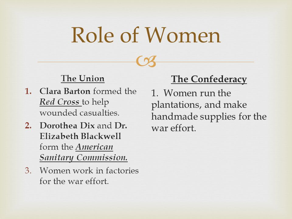 Role of Women The Union. Clara Barton formed the Red Cross to help wounded casualties.