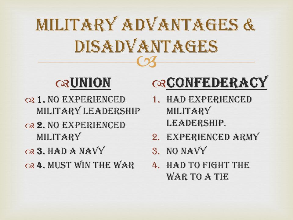 Military Advantages & Disadvantages