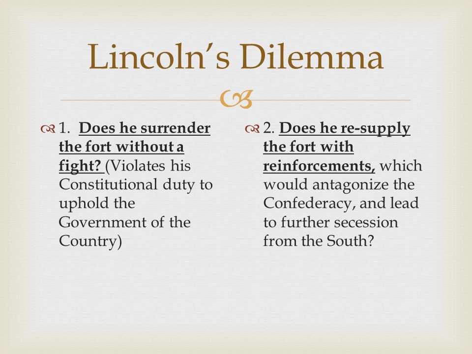 Lincoln's Dilemma 1. Does he surrender the fort without a fight (Violates his Constitutional duty to uphold the Government of the Country)