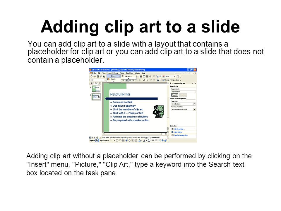 Adding clip art to a slide