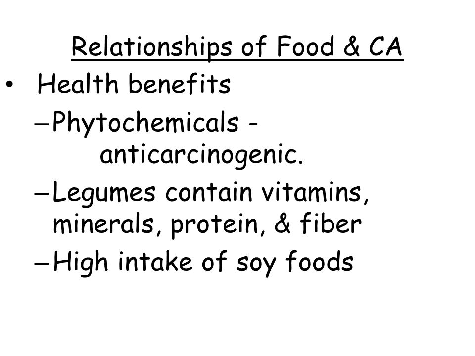 Relationships of Food & CA