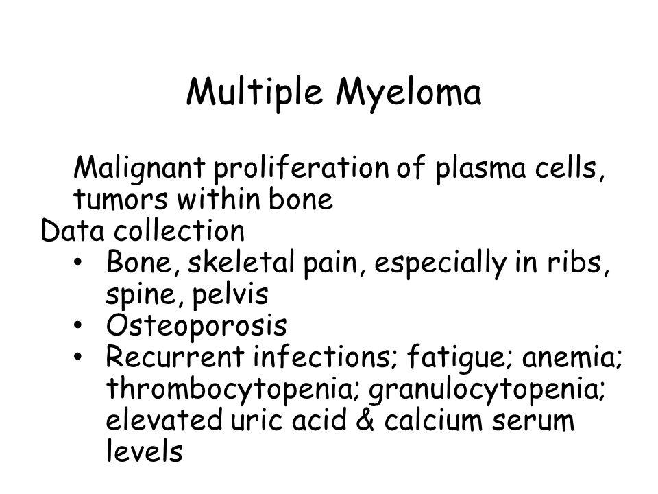 Multiple Myeloma Malignant proliferation of plasma cells, tumors within bone. Data collection.