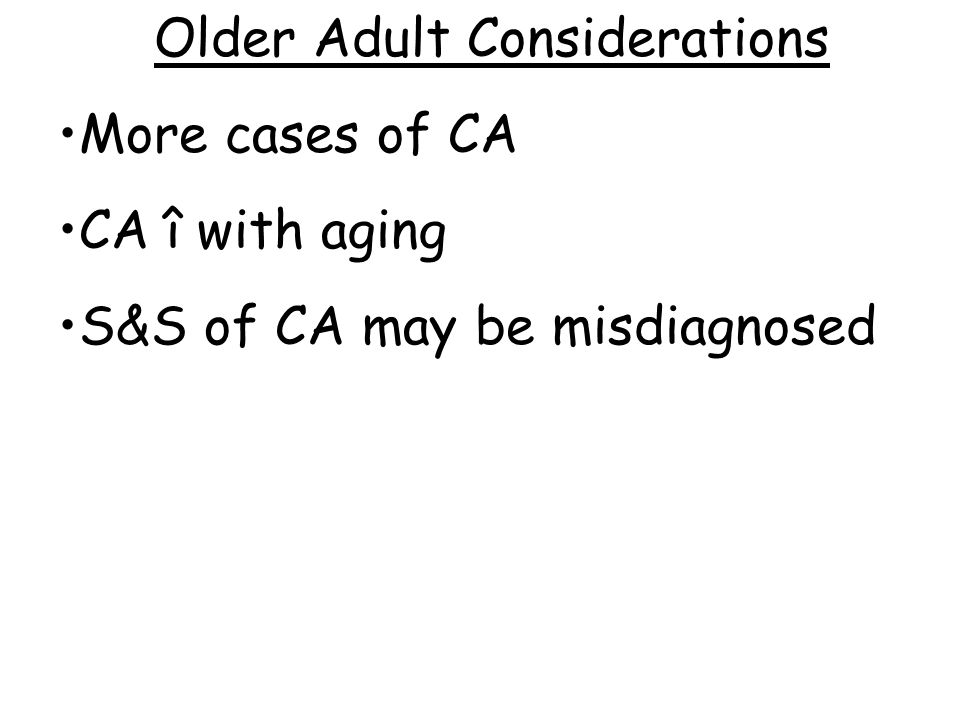 Older Adult Considerations