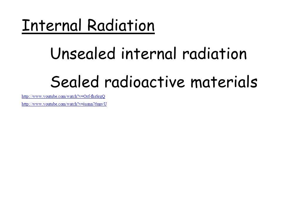 Unsealed internal radiation Sealed radioactive materials