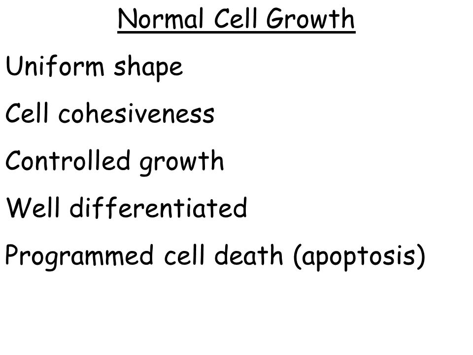 Normal Cell Growth Uniform shape. Cell cohesiveness.