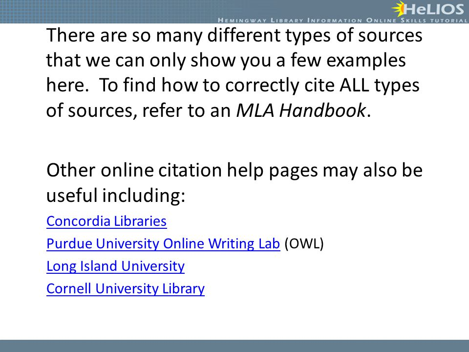 Other online citation help pages may also be useful including: