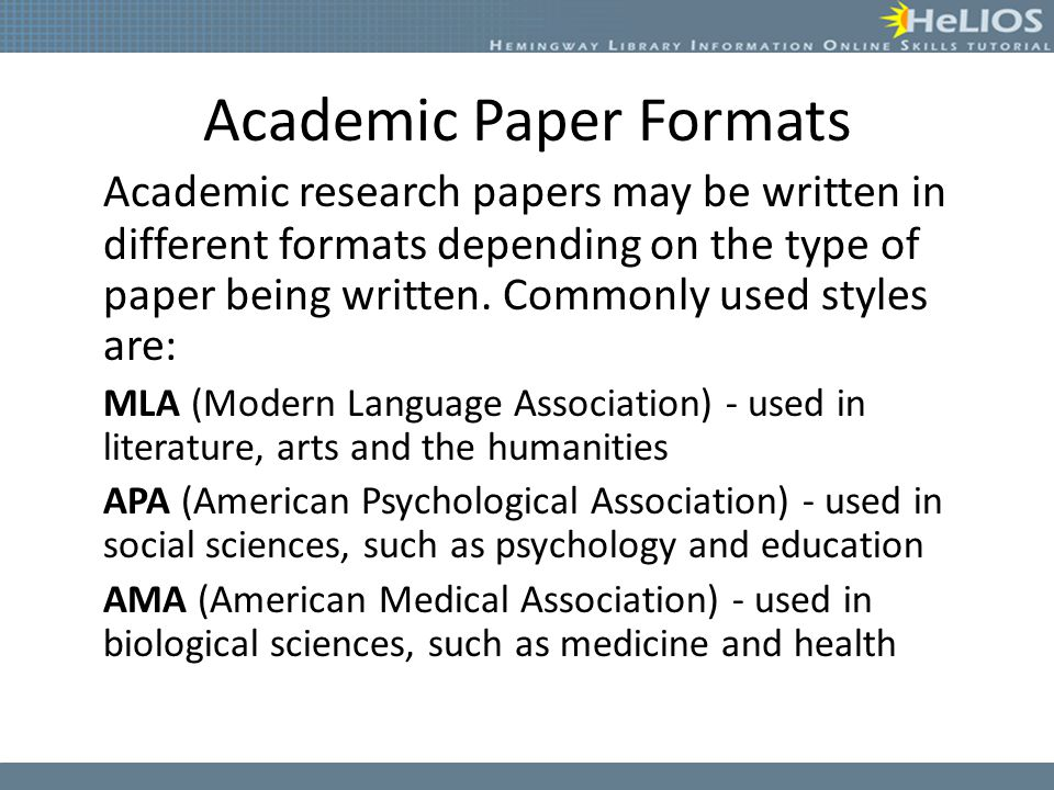 Types research paper formats