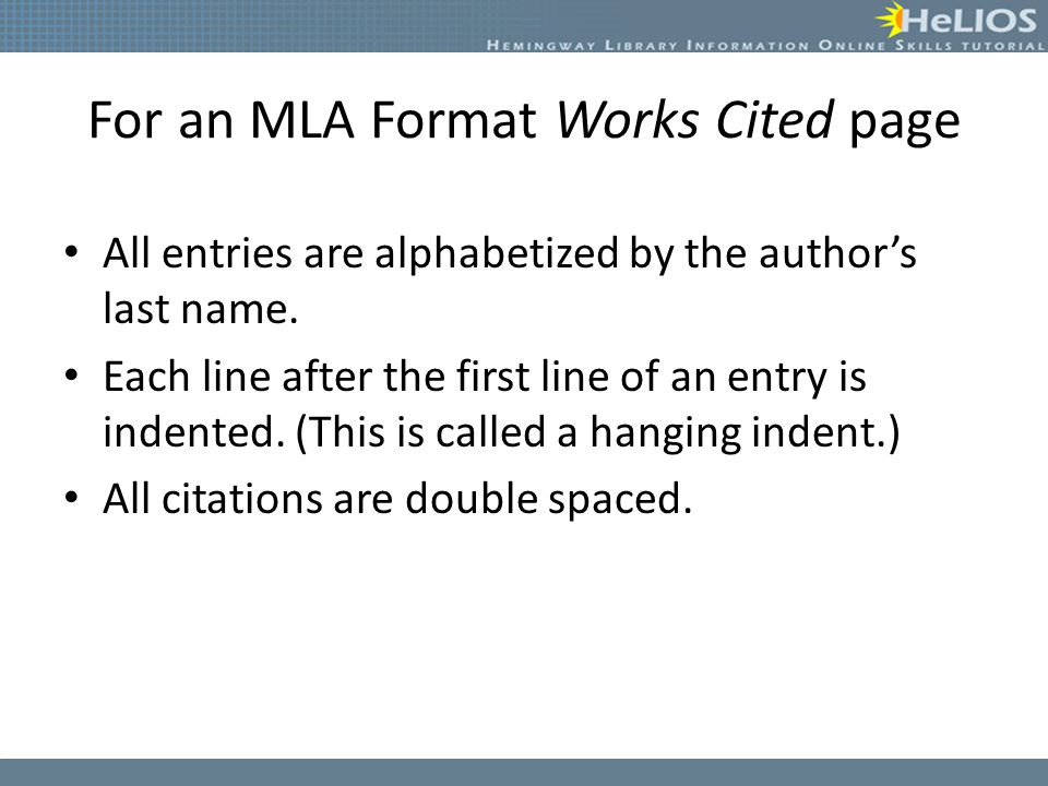 For an MLA Format Works Cited page