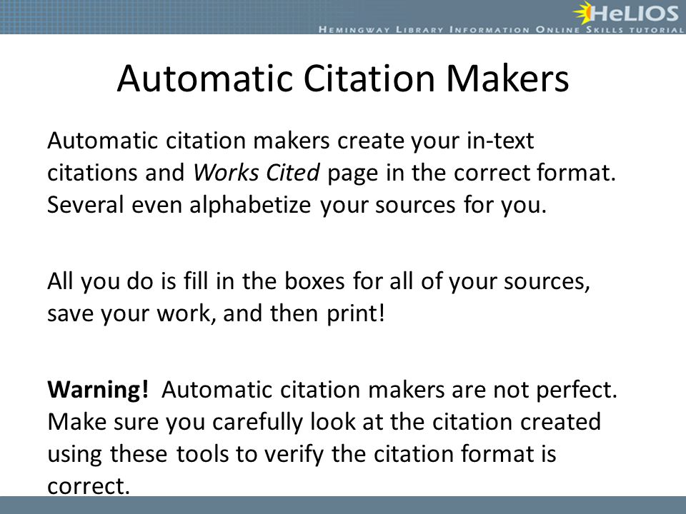 Automatic Citation Makers