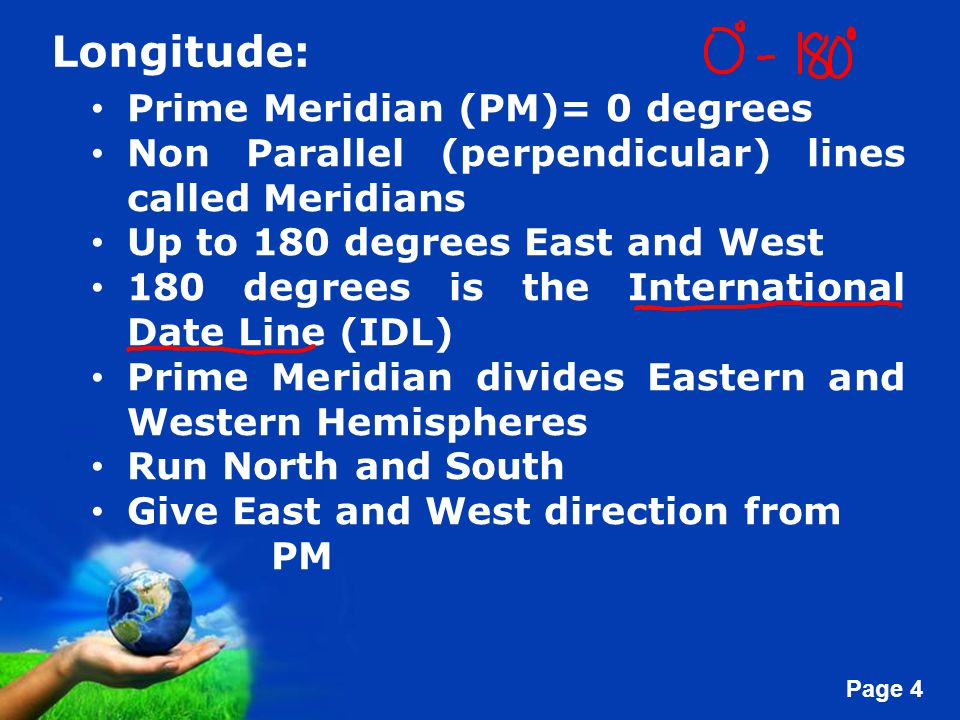 Longitude: Prime Meridian (PM)= 0 degrees