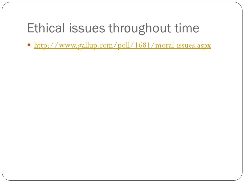 Ethical issues throughout time