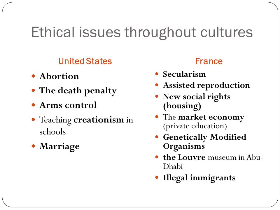 Ethical issues throughout cultures