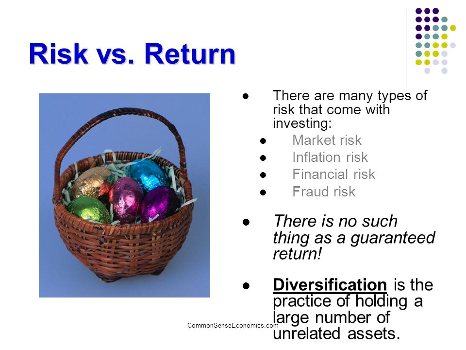 Risk vs. Return There is no such thing as a guaranteed return!