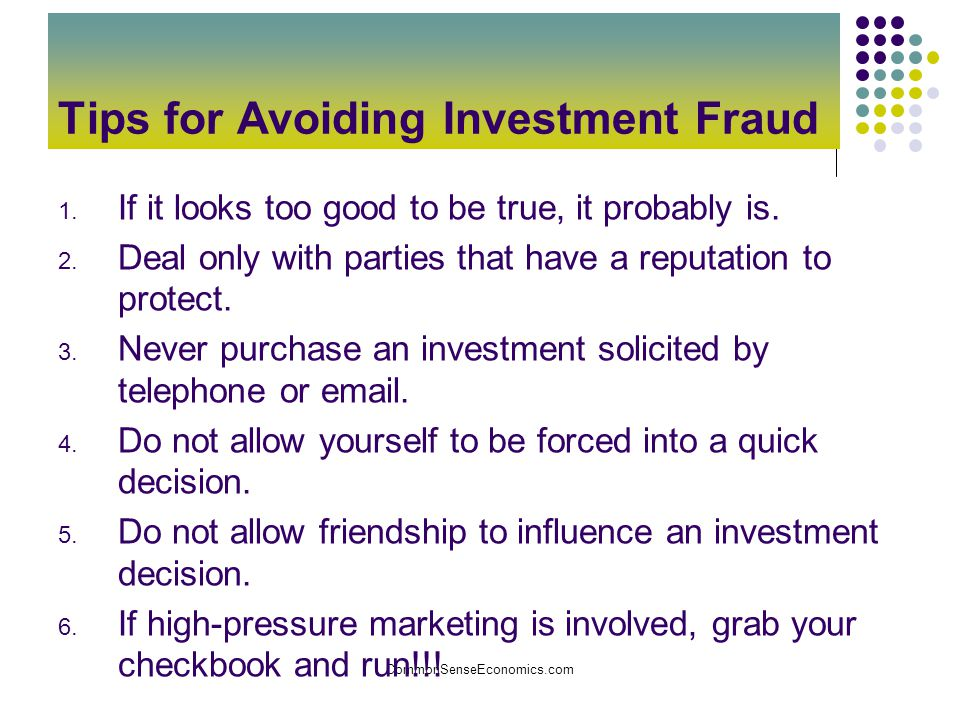 Tips for Avoiding Investment Fraud