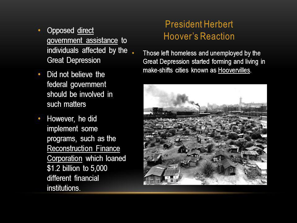President Herbert Hoover's Reaction