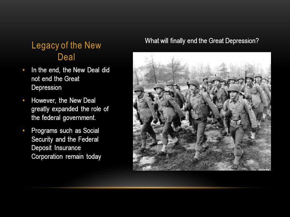 What will finally end the Great Depression