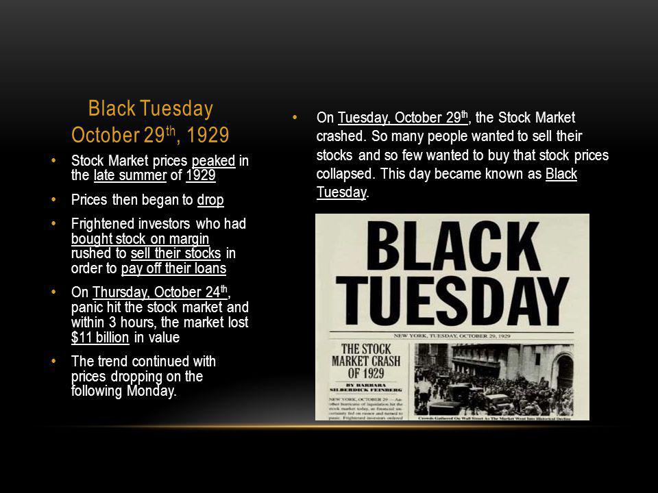 Black Tuesday October 29th, 1929
