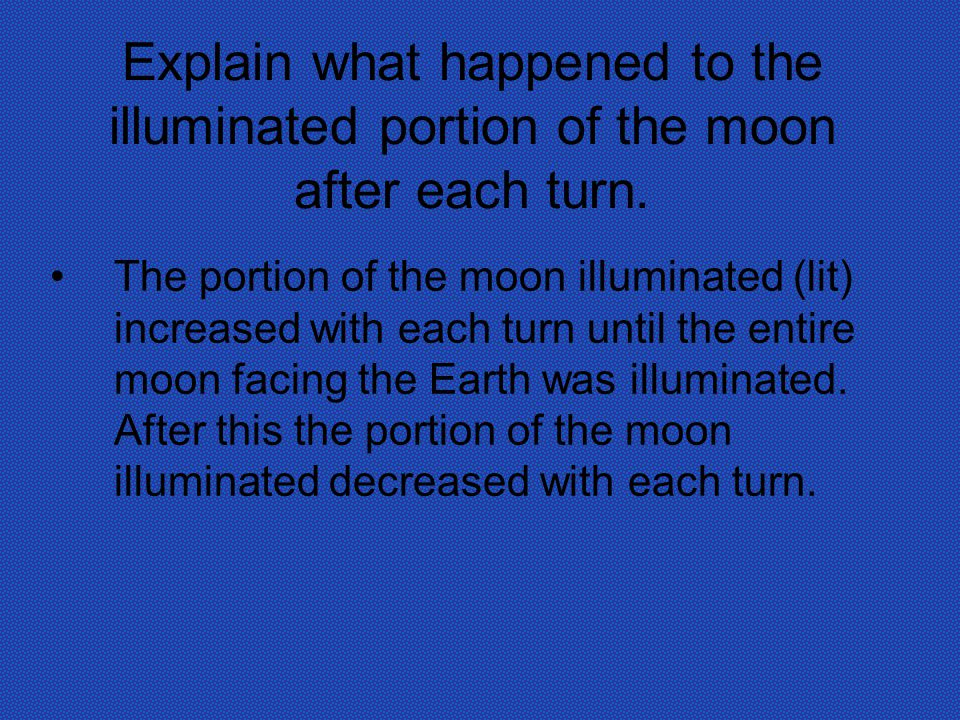 Explain what happened to the illuminated portion of the moon after each turn.