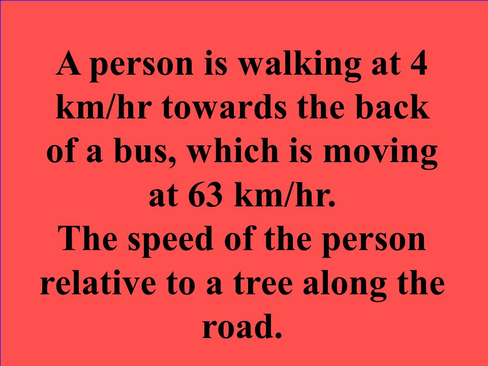 The speed of the person relative to a tree along the road.