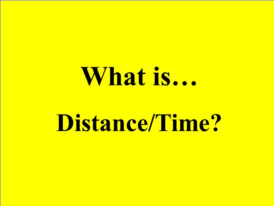 What is… Distance/Time