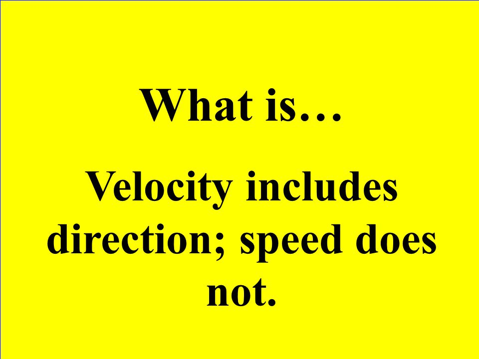 Velocity includes direction; speed does not.