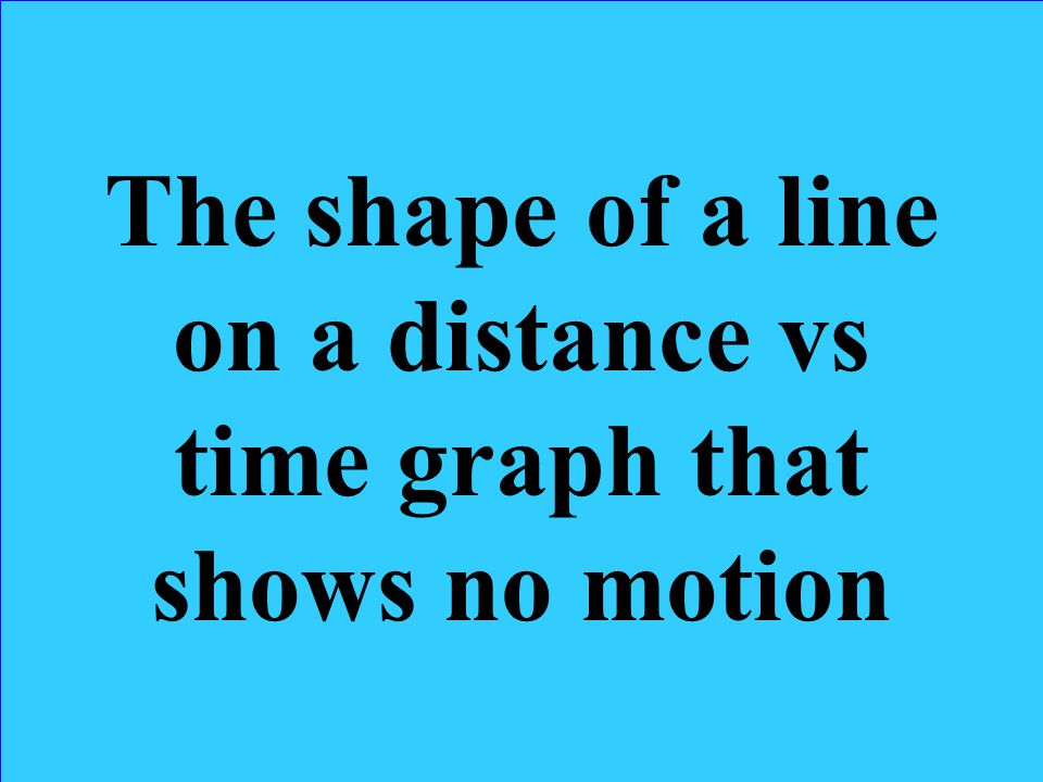 The shape of a line on a distance vs time graph that shows no motion
