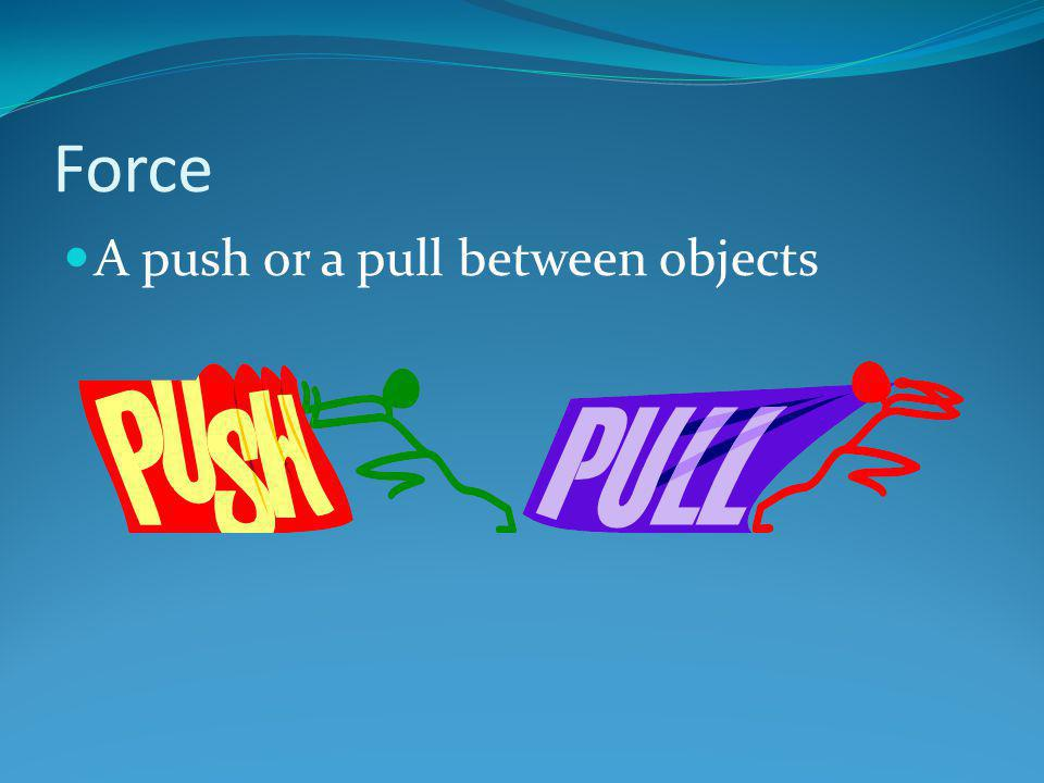 Force A push or a pull between objects