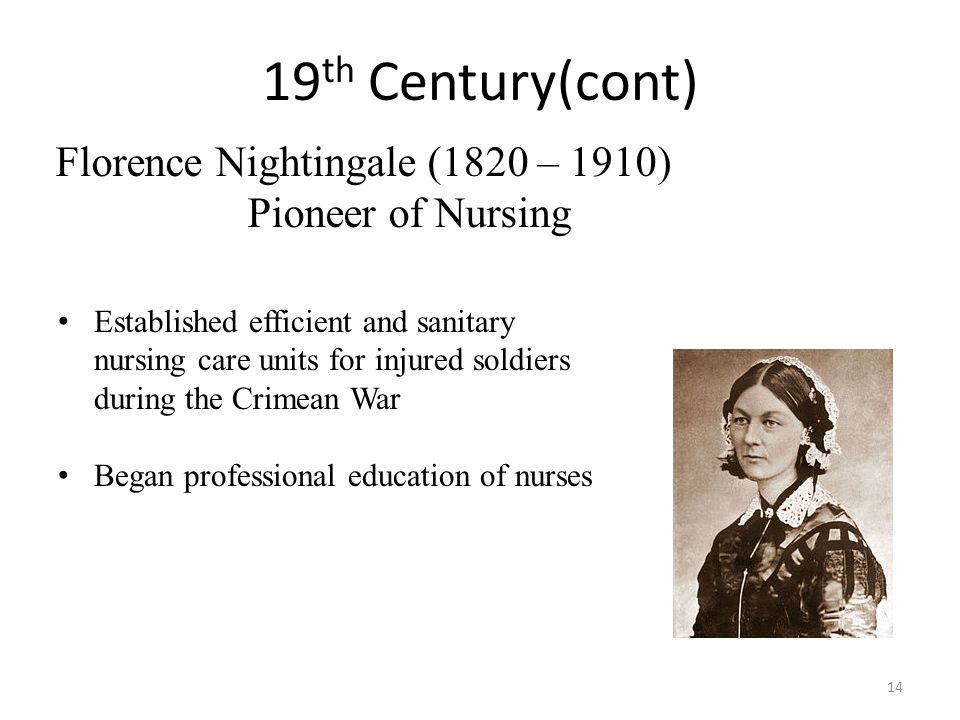 19th Century(cont) Florence Nightingale (1820 – 1910)